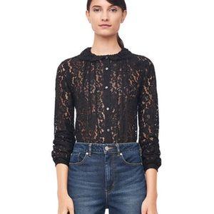 Rebecca Taylor allover lace blouse in black